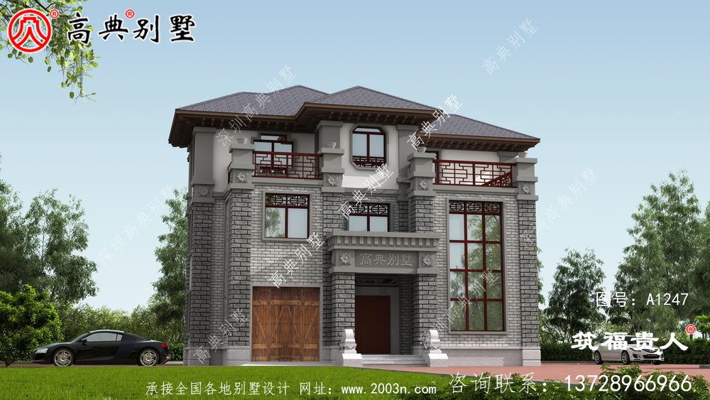 灰白色新中式新款农村建别墅图纸