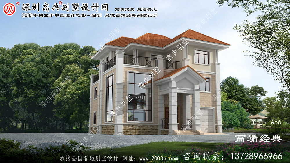 长宁区农村自建房欧式三层别墅带车库