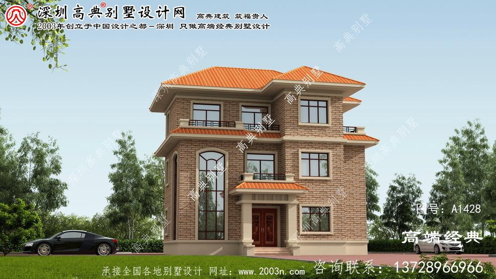 阳春市农村带堂屋三层别墅设计图