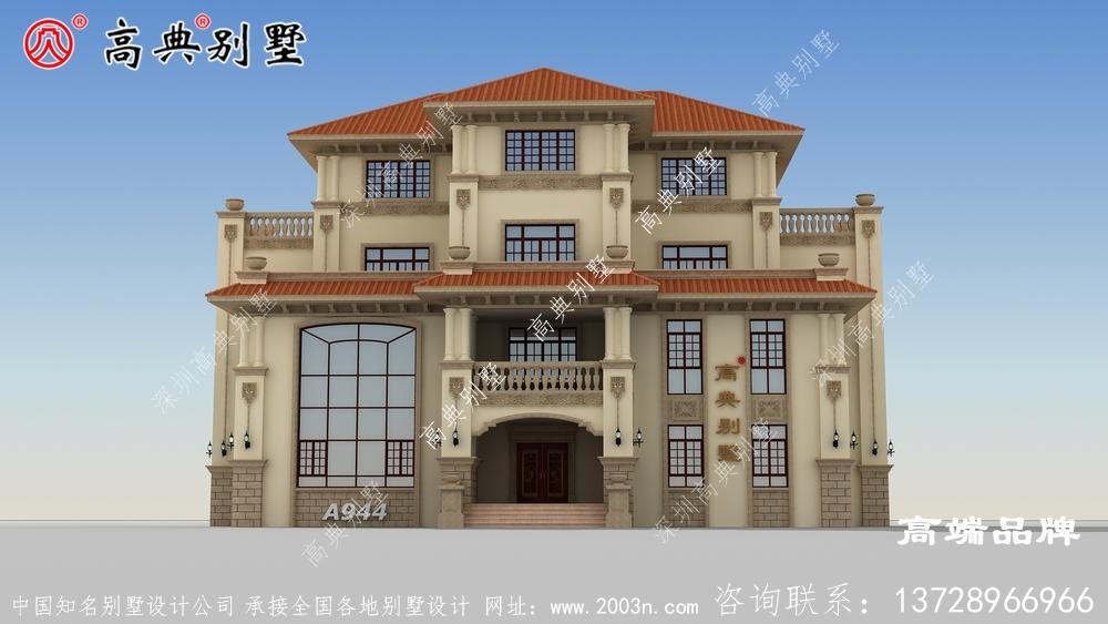 四楼农村住宅别墅设计图,外观如何设计高级大气?