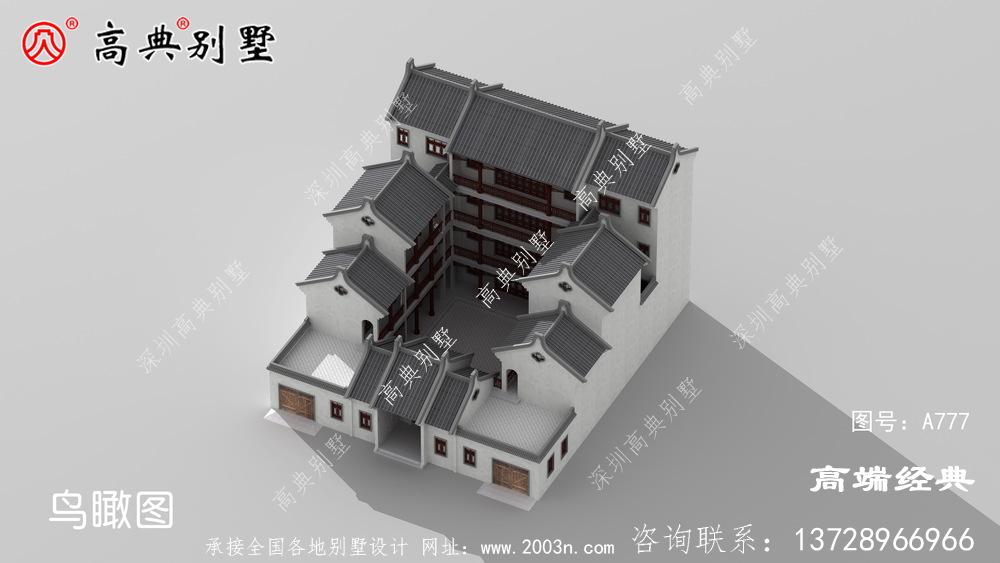 中式厅三层别墅设计图