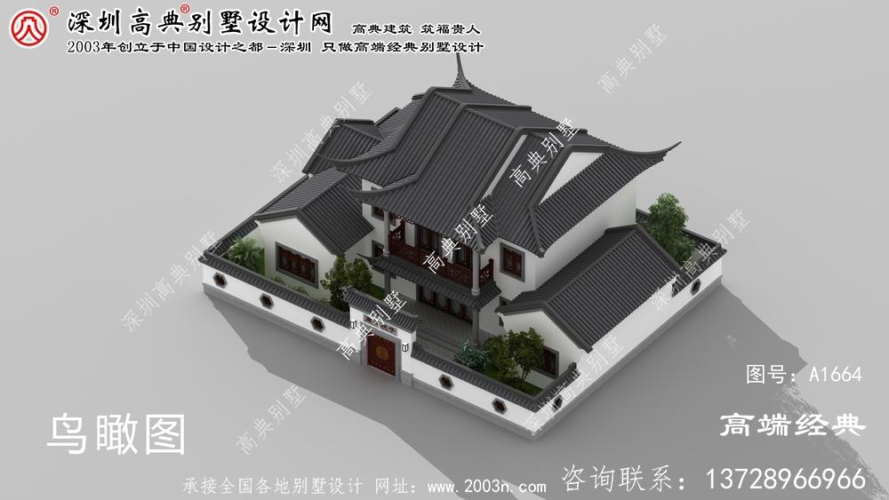 湘阴县乡下自建中式庭院图样设计,美观大方。