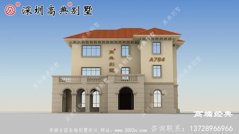 农村二层半楼房别墅设计图。