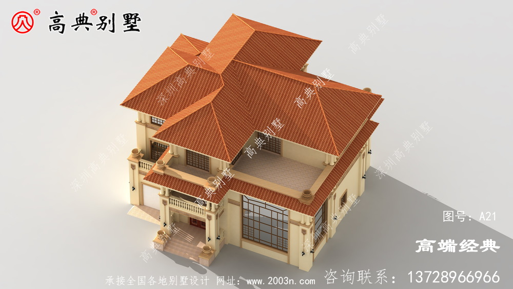 建筑层次感分明,视觉美观效果良好