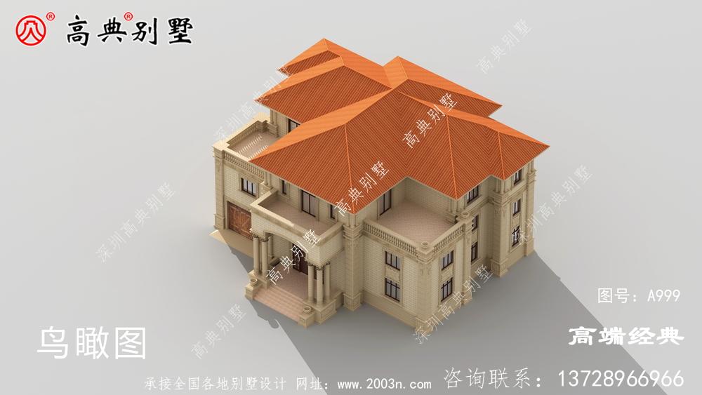 欧式三层别墅,外观精致小巧,盖一栋,用来做度假。