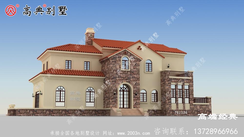 一款简洁大方,结合流行欧式元素的两层别墅